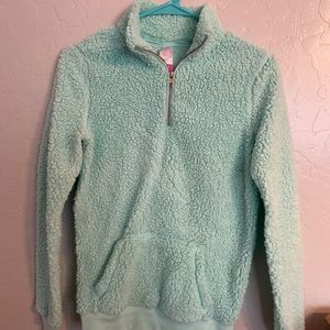 Fuzzy quarter-zip pullover